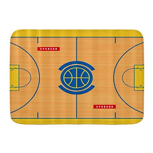 QIUTIANXIU Badezimmerteppich rutschfest - Weiche Badematte,Grundriss des Basketballplatzes drucken,Badvorleger,Badeteppich,75 * 45cm