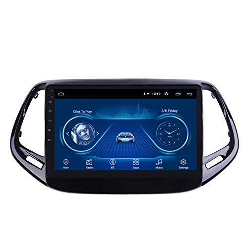 YLCCC Coche Estéreo Sat Nav Adecuado para Jeep Compass 2017-2018 Coche Estéreo Vehículo GPS Touch Touch HD Carplay Radio Multimedia Multimedia Radio Incorporado Tracker,8Core 4G+WiFi:2+32G