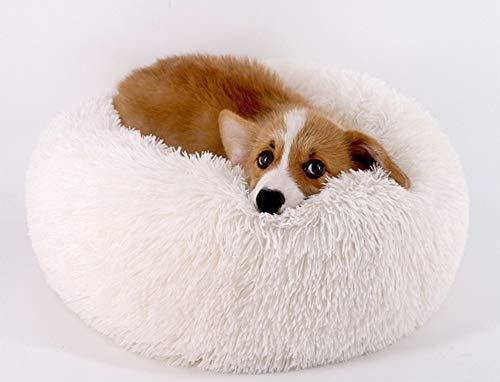 Everley Hutt Deluxe Haustierbett für Katzen Hundebett Luxery Soft Dog Donut Bed Cuddler mit weichem Kissen Round Nesting Cave (Small(50cm), Weiß)