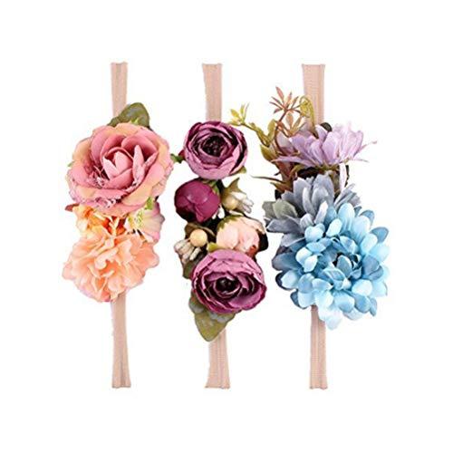 Ever Fairy Raffhalter Blumen Krone ELASTISCH Blumen Stirnband Baby Mädchen Blumenmuster Krone Kranz Neugeborenes Haarzubehör Party Versorgungen - 3 Farben Packung - D, One Size