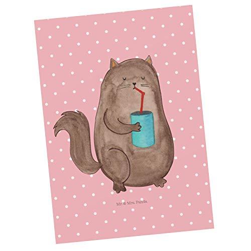 Mr. & Mrs. Panda uitnodiging, cadeaubon, Ansichtkaart Kattenblik - Kleur Rode Pastel