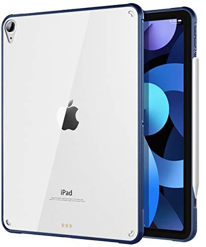 TiMOVO Funda Compatible con Nuevo iPad 10.9 inch, iPad Air 4.ª Generación 2020, Cubierta Suave de TPU Flexible con Borde de Almohada de Aire [con Soporte de Cargar de 2nd Gen Apple Pencil, Azu