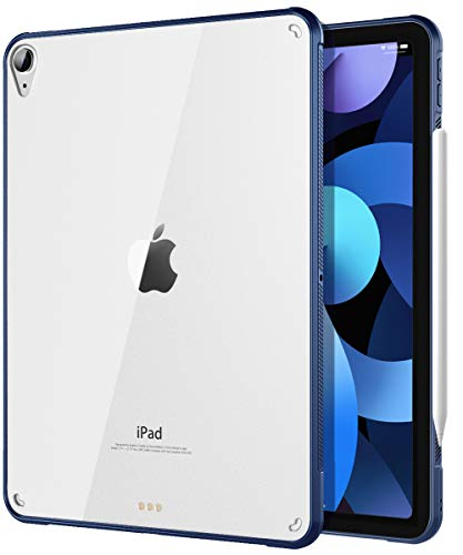 TiMOVO Case for New iPad Air 4th Generation, iPad Air 4 Case (10.9-inch, 2020), Ultra Slim Shockproof Flexible TPU Air-Pillow Edge Protective Cover, [Support 2nd Gen Apple Pencil Charging] - Navy Blue