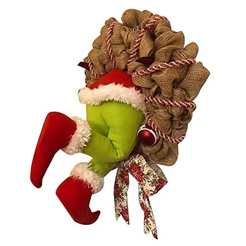 perfeclan Guirnalda de Ladrones navideños Naughty Bowknot Marco de Guirnalda con Alambre Guirnalda de arpillera navideña Adorno de árbol para Navidad Puerta ✅