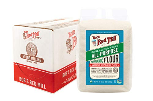 Bob's Red Mill Organic Unbleached White All-Purpose Flour, 3 Pound (Pack of 4)
