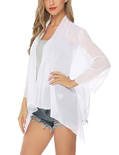 Aibrou Mujer Dobladillo Irregular del Oscilación Rebeca de Gasa Casual Blusón Bikini Beach Cover Up Traje de Baño Blusa Top