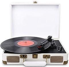 DIGITNOW! Belt Drive 3-speed draagbare stereo draaitafel met ingebouwde luidsprekers, ondersteunt RCA output / 3,5 mm aux-in / hoofdtelefoonaansluiting / MP3, mobiele telefoons muziek afspelen *