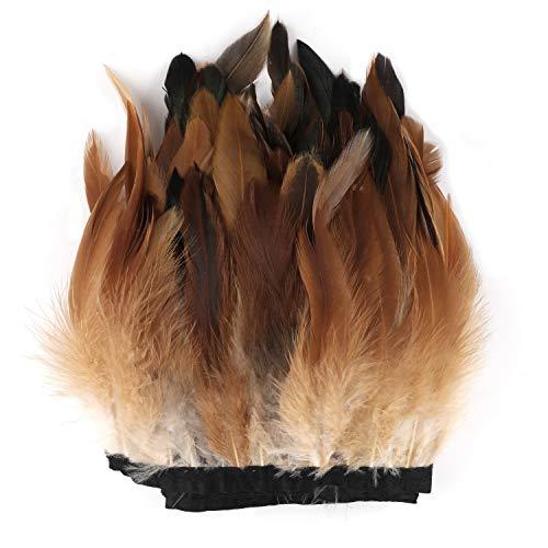 Mwoot 1m pluma de gallo recortar flecos, 13-18cm de ancho con Cinta de satén para Vestidos,...