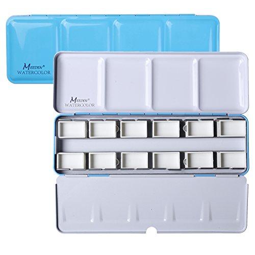 MEEDEN Empty Watercolor Tins Box Palette Paint Case, Mdeium Blue Tin with 12 Pcs Full Pans