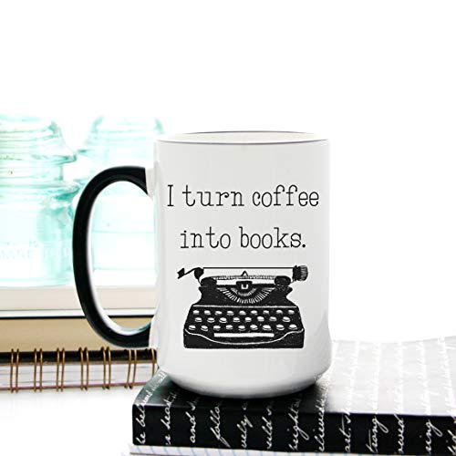 I Turn Coffee into Books Tasse Geschenk für Schriftsteller, Editor, Autor, Kaffeetasse mit Schreibmaschine