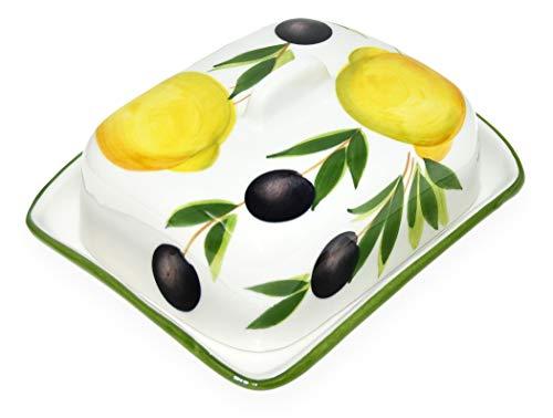 Lashuma Handgemachte Butterdose aus Italienischer Keramik im Zitronen - Oliven Design, Butterbox Größe 18 x 14 cm