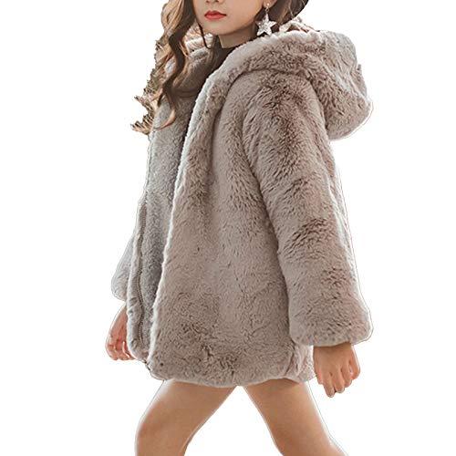 Agoky Abrigos de Niñas Invierno Imitacion Pelo Chaquetas para Niñas Vestir con Capucha Abrigos Bebé Niños Jacket Gris 11-12 años