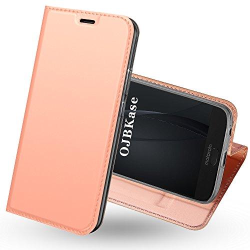 OJBKase Moto G6 Plus Hülle, Premium Slim PU Leder Handy Schutzhülle [Standfunktion] Hülle/Cover/Brieftasche/Ledertasche Bookstyle Tasche Lederhülle Handyhülle für Motorola Moto G6 Plus (Roségold)