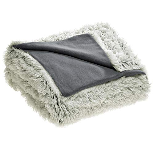 CelinaTex Shetland Bettwäsche 140 x 200 cm 4-teilig Creme grau Polar-Fleece Bettbezug Flokati Optik Bett Garnitur