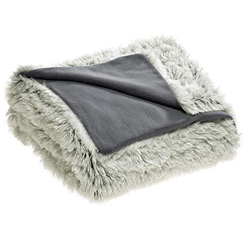 CelinaTex Shetland Bettwäsche 135 x 200 cm 2-teilig Creme grau Polar-Fleece Bettbezug Flokati Optik Bett Garnitur