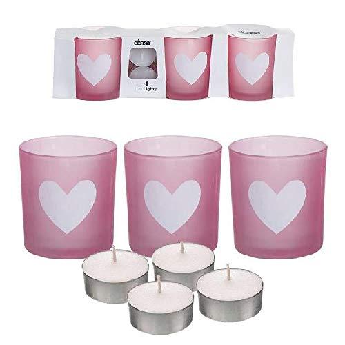 DCASA 3 kaarsen met 4 kaarsen, hart, plafondlamp en kandelaar, decoratie voor thuis, unisex, volwassenen, uniek kleur
