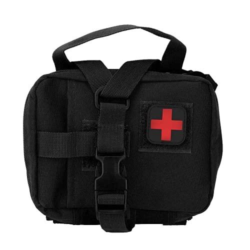 Bolsa de primeros auxilios Molle, bolsa de almacenamiento de primeros auxilios de colocación gratuita Bolso portátil Diseño especial duradero para acampar al aire libre para viajes a pie(negro)