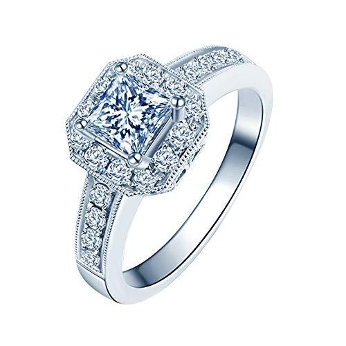 ANAZOZ Damen Ring, 750 Trauringe, 18 Karat Weißgold Quadrat Solitärring Zart Hochzeitsring Verlobungsring Eheringe Diamantring Größe 60 (19.1)
