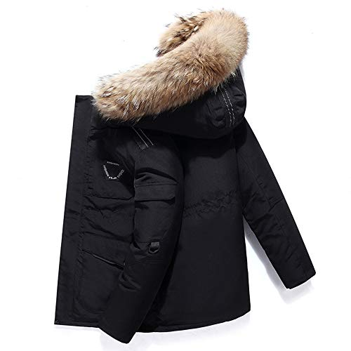AKT Piumino da Uomo Parka con Cappuccio da Uomo in Piumino D'Anatra Bianco Cappotto Giacca Invernale Caldo,Black,2XL