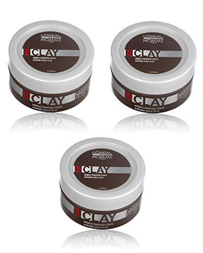 Loreal LP Homme Clay Paste 3 x 50 ml Styling Intensiver Matt-Effekt für starke Fixierung