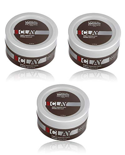 Loreal LP Homme Clay Paste 3 x 50 ml Styling Intensiver Matt-Effekt für starke Fixierung