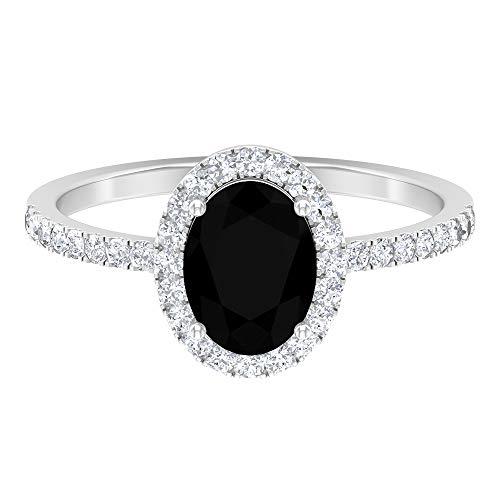 Rosec Jewels - Anillo de diamante negro y halo moissanita de 2 CT creado en laboratorio, 8 x 6 mm, corte ovalado, diamante negro, 14K Oro blanco, Diamante negro creado en laboratorio, Size:EU 65