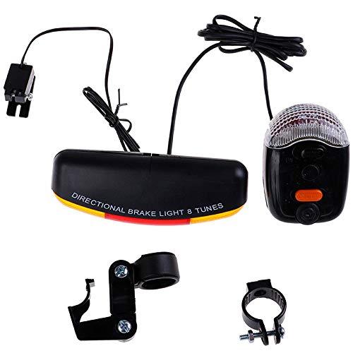 Xwywp bicicleta luces conjunto bicicleta seguridad en oscuridad bicicleta señal giro direccional luz freno lámpara sonido cuerno fijo montaje conjunto