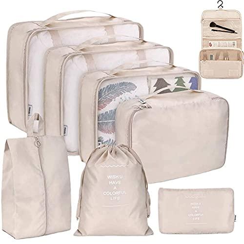 パッキングキューブセット 8個 旅行荷物オーガナイザー ストレージバッグ スーツケース パッキングケース 衣類 靴 整理ポーチ バッグ 洗面用品 ウォッシュバッグ (ベージュ)