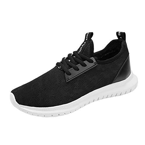 Zapatos para Correr para Mujer Zapatillas con Cordones, Zapatos Deportivos de Malla Transpirable Zapatillas Antideslizantes en Color Liso Punta Redonda Plana Suave
