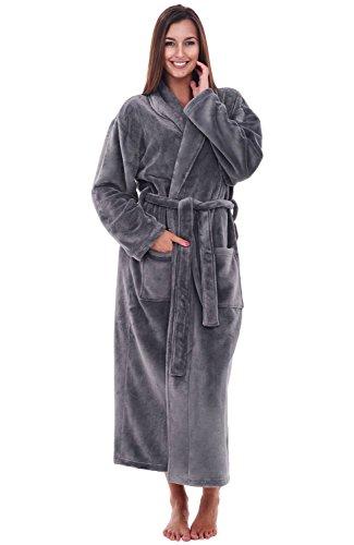 Alexander Del Rossa Women's Plush Fleece Robe, Warm Bathrobe, Small Medium Steel Grey (A0117STLMD)