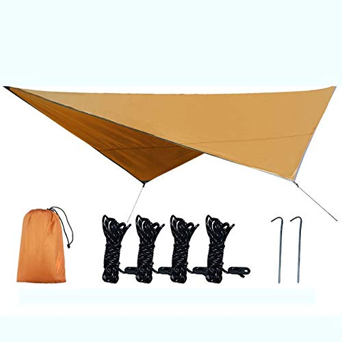 CttiuliZpe Tent, Outdoor Sky Curtain Multi-functional Mat Improvised Tent Camping Supplies Walking Camping Tent Cloth,Outdoor Tents for Backyard, (Color : Brass)