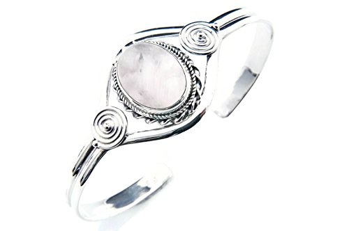 Rosenquarz Armreif 925 Silber Sterlingsilber Armband Armspange rosa (MAR 03-07)