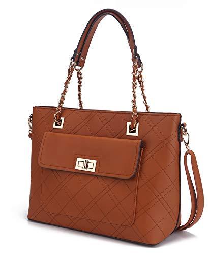 Mia K. Collection Crossbody Bag for Women Purses and Handbags, Shoulder Strap, Signature, PU Leather Top-Handle Satchel Tote Cognac