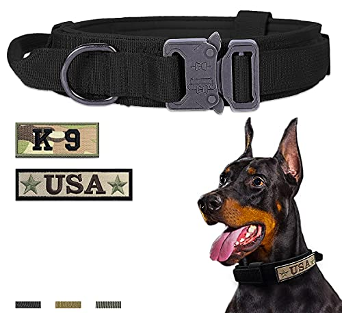 Amai Keto Tactical Dog Collar Nylon Adjustable Military Training Collar with Handle and Heavy Duty Metal Buckle K9 Dog Collar for Large Dogs