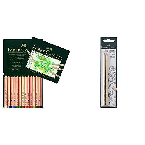 Faber-Castell 112124 - Estuche de metal con 24 ecolápices Pitt pastel, multicolor + 185698 - Blister lápices goma para borrar, con precisión