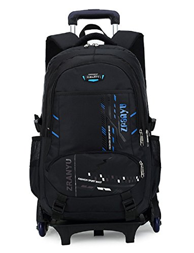 Fanci Teens Girls Boys Middle High School Trolley Rolling Backpack Book Bag Waterproof Wheeled Backpack Carry On Luggage with Six Wheels