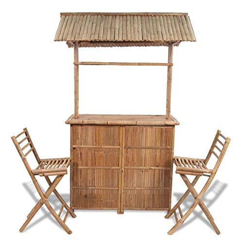 FAMIROSA Juego de Barra y sillas de Bar de jardín 3 Piezas de bambú