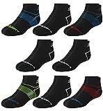 New Balance Boys' Performance Cushioned Quarter Socks (8 Pack), Black Assorted, Size Medium/Shoe Size: 8.5 - 2