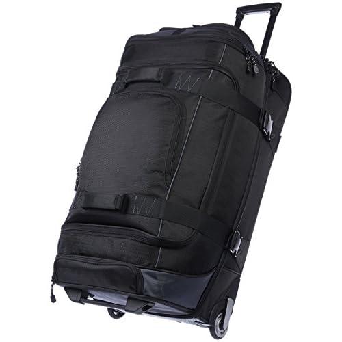 AmazonBasics - Borsone da viaggio con ruote, in Ripstop, 76 cm, 87 litri, Nero