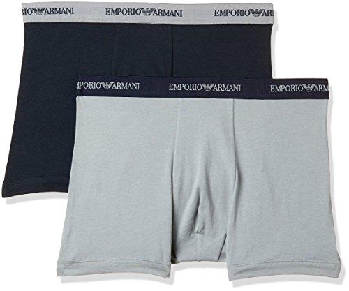 Emporio Armani Underwear Herren 111268CC717 Boxershorts, Mehrfarbig (GRIGIO/MARINE 13742), Small (2er Pack)
