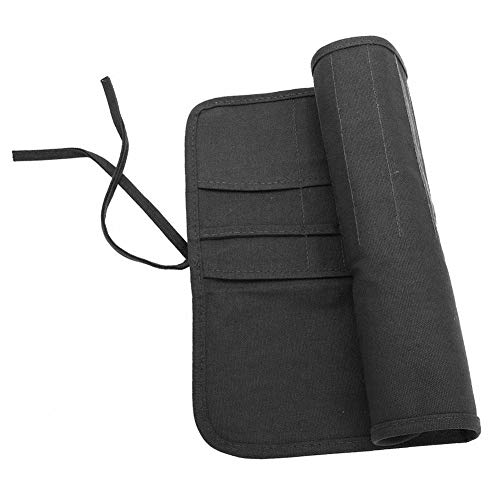 Künstlerpinsel-Tasche aus Leinen, klassischer Stil, Schutzbeutel zum Aufbewahren von Acrylfarben, Aquarellfarbe, Ölkreide- und Zeichenstiften. Schwarz