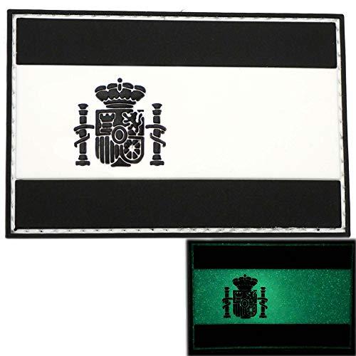 Parche de Bandera España Brillante por la noche. Parches militares para chaleco táctico lastrados de crossfit con ganchos adhesivos con pintura fluorescente en la oscuridad - 75 x 50 mm