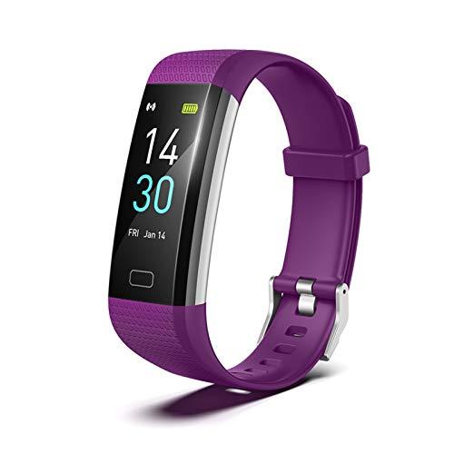 XXY Set Smart Pulsera Set Monitor De Ritmo Cardíaco Toque Fitness Tracker Reminder S5 Gen 2 TFT para Compras Al Aire Libre Accesorios (Color : Purple)