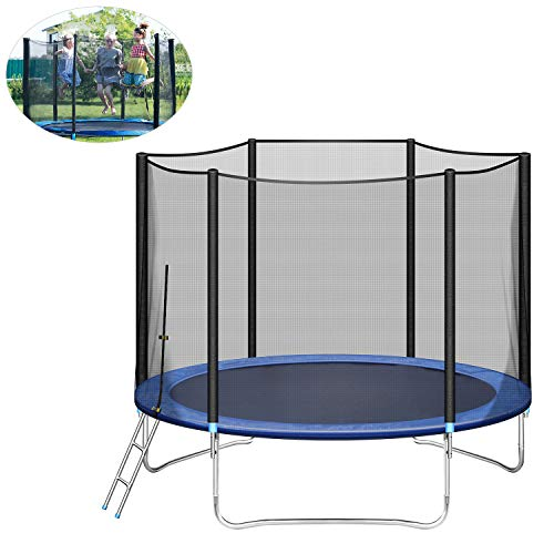 ARCTICSCORPION 10 Foot Trampoline with Safety Enclosure Net for Kids with Jumping Mat and Ladder Net Surrounding 661 LB Capacity for 3-4 Kids Outdoor