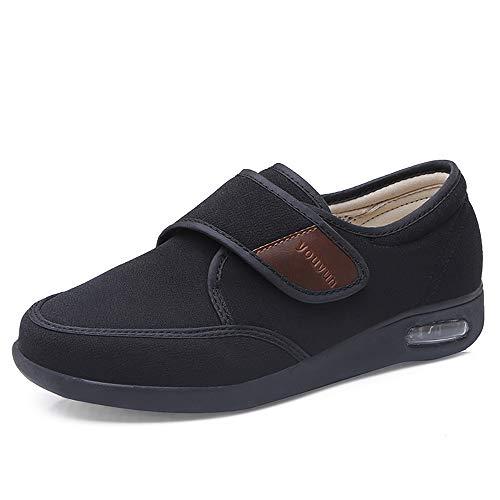PXQ Zapatillas de recuperación para diabéticos de Ancho Extra Ancho para Hombres, Zapatos de Caminar Ajustables con amortiguación de Aire, Zapatillas de Deporte cálidas para Ancianos,Negro,48