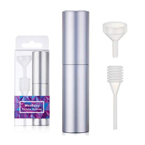 10 ml Vaporisateur Parfum Rechargeables Vide voyage Verre Atomiseur Flacon Parfum pour Homme & Femme (argent)