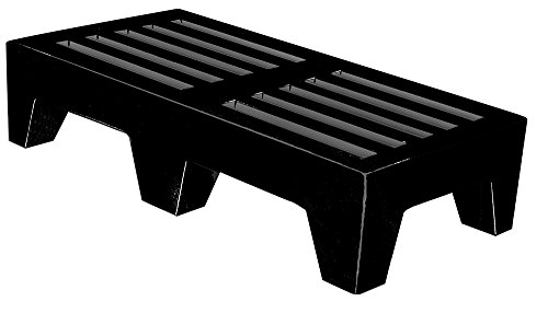 "Winholt DPLSQ-4-1222-BK Dunnage Rack, Plastic, 22"" Width x 48"" Length x 12"" Height, Black"