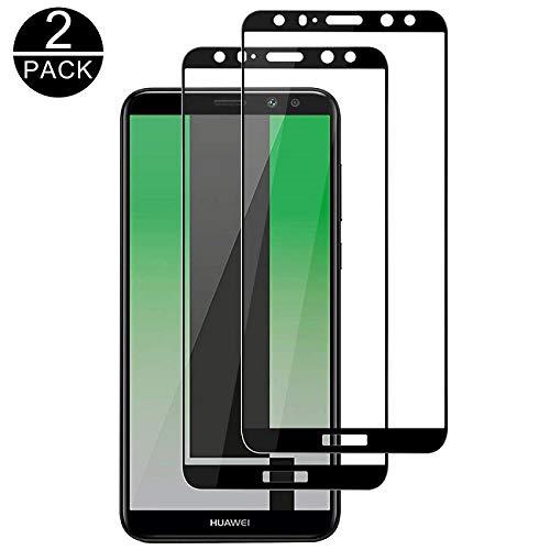 TECHKUN Panzerglas Schutzfolie für Huawei Mate 10 lite, Panzerglasfolie für Huawei Mate 10 Lite,[2 Stück] 9H Härtegrad Ultra-klar(Schwarz)