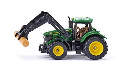 Siku 1540,mit Baumstammgreifer, Metall/Kunststoff, Grün, Beweglicher Frontlader, Anhängerkupplung, Bereifung aus Gummi