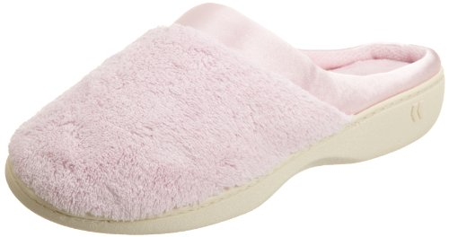 isotoner Women's Microterry PillowStep Satin Cuff Clog Slippers, Peony, 6.5-7 B(M) US